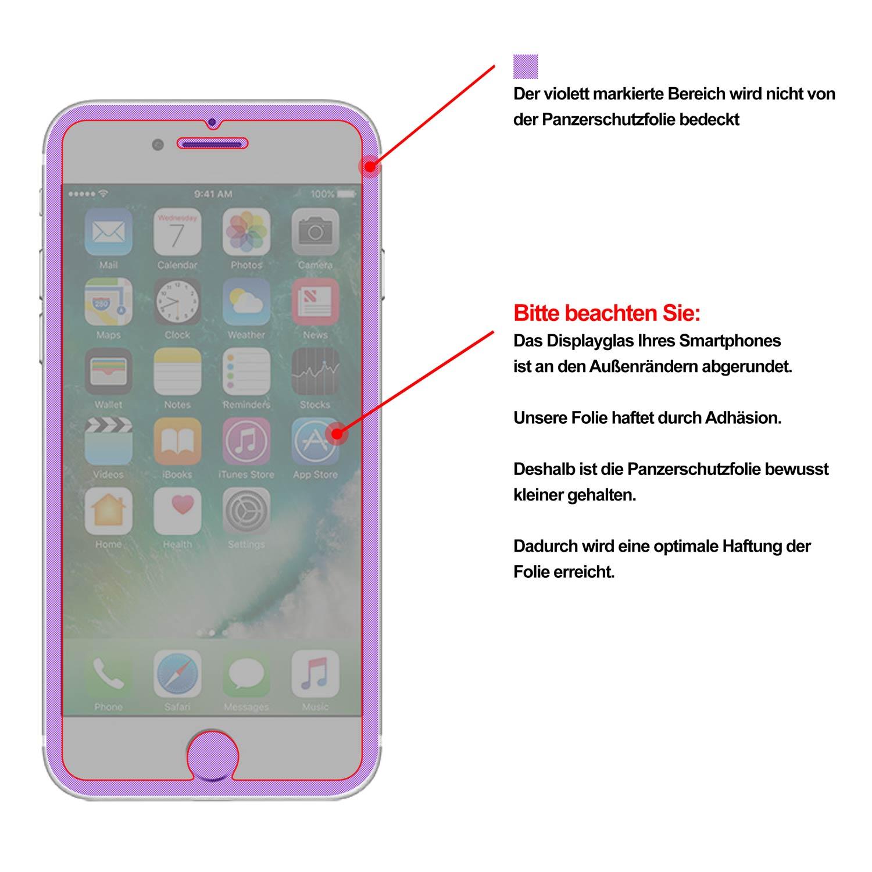 2er set panzer schutz folie f r apple iphone 7 plus f r. Black Bedroom Furniture Sets. Home Design Ideas